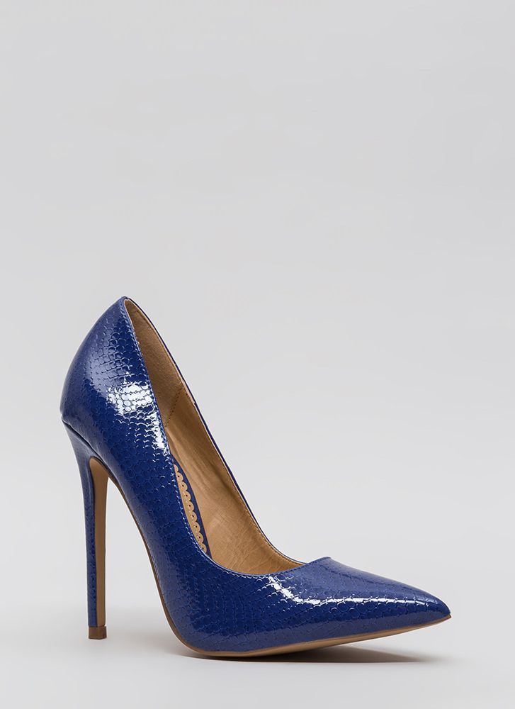 Snake A Look Pointy Heels BLUE