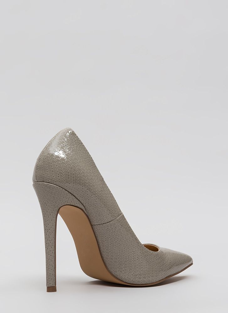 Snake A Look Pointy Heels GREY