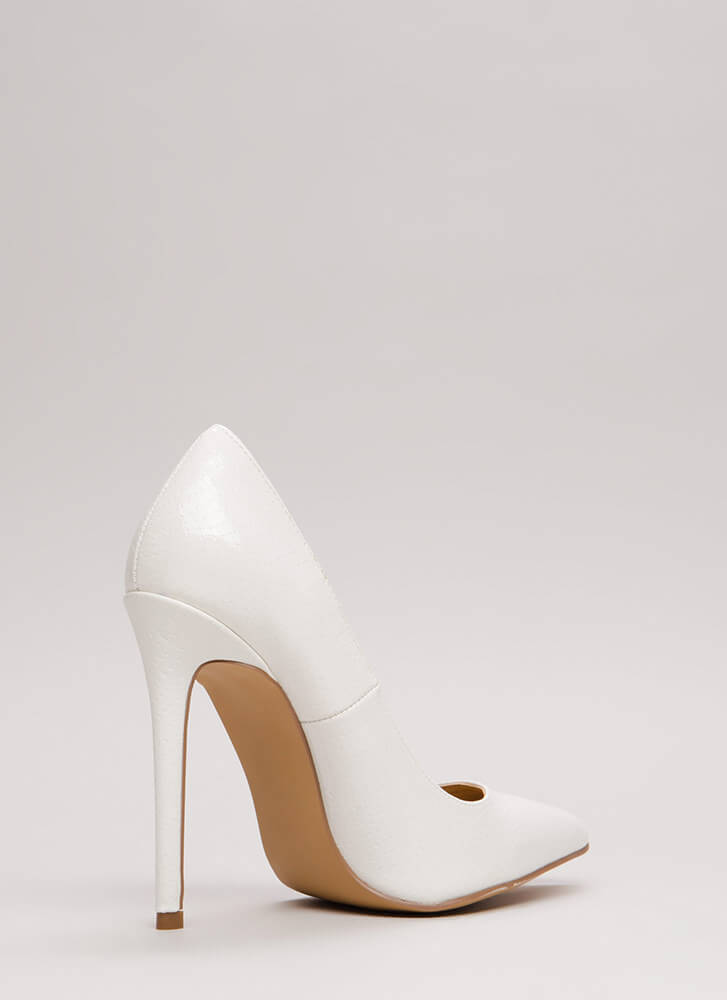 Snake A Look Pointy Heels WHITE