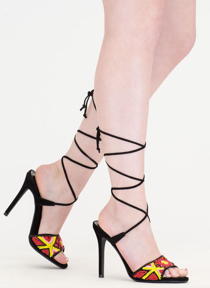 Bead You To It Tribal Lace-Up Heels BLACK (Final Sale)