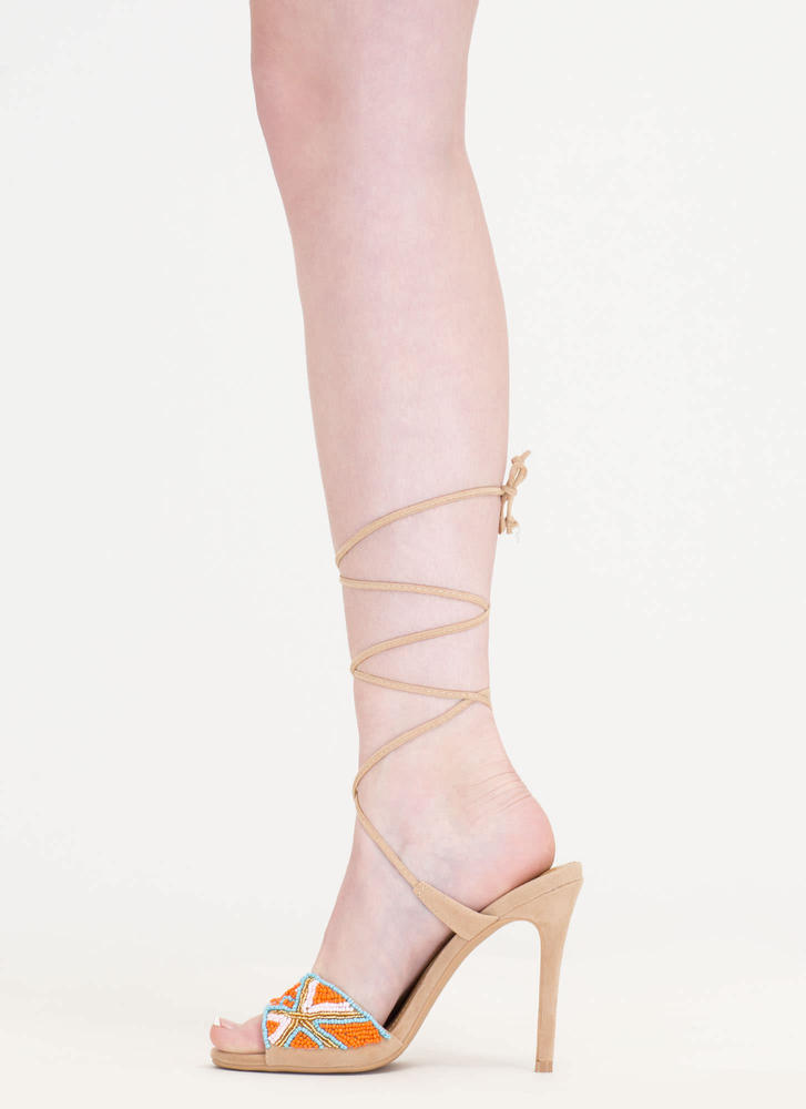 Bead You To It Tribal Lace-Up Heels NUDE (Final Sale)
