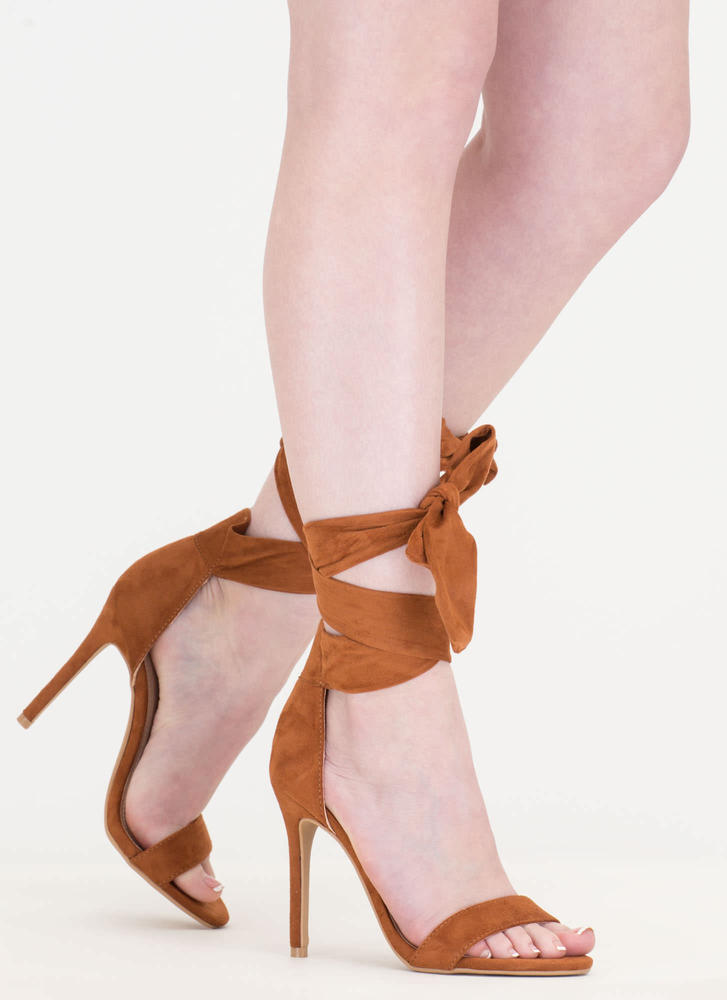 Turn The Tied Faux Suede Lace-Up Heels CHESTNUT
