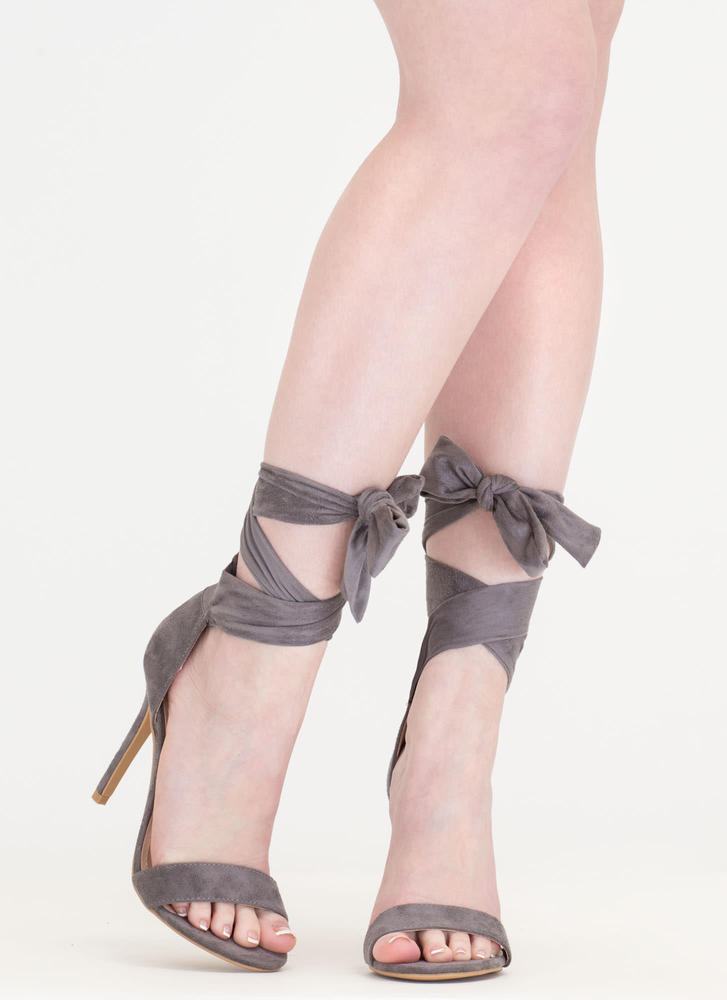 Turn The Tied Faux Suede Lace-Up Heels GREY