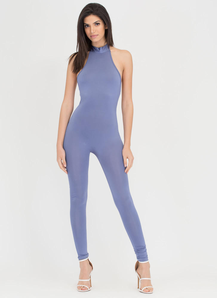Tied To The Finish Mockneck Jumpsuit BLUE
