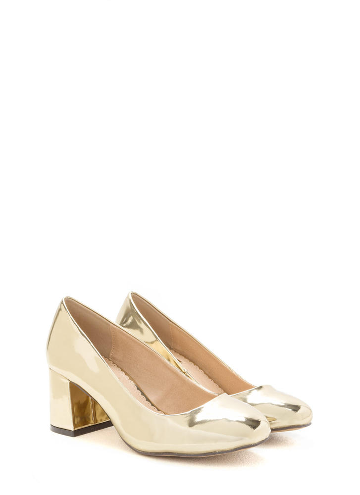 Chunky Chic Faux Patent Block Heels GOLD