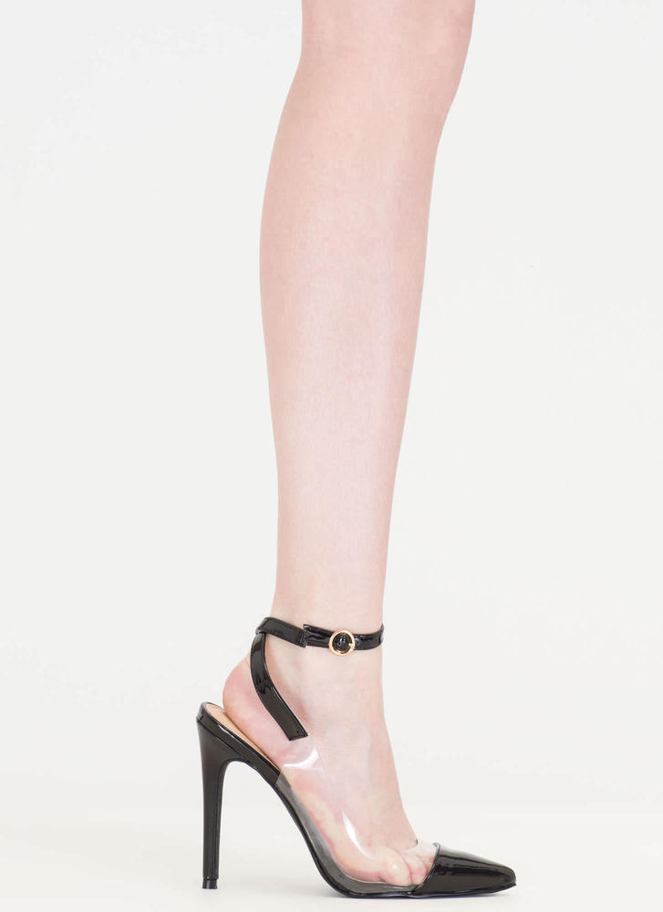 Clear Your Game Pointy Faux Patent Heels BLACK