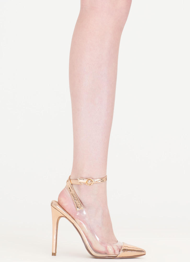 Clear Your Game Pointy Metallic Heels ROSEGOLD
