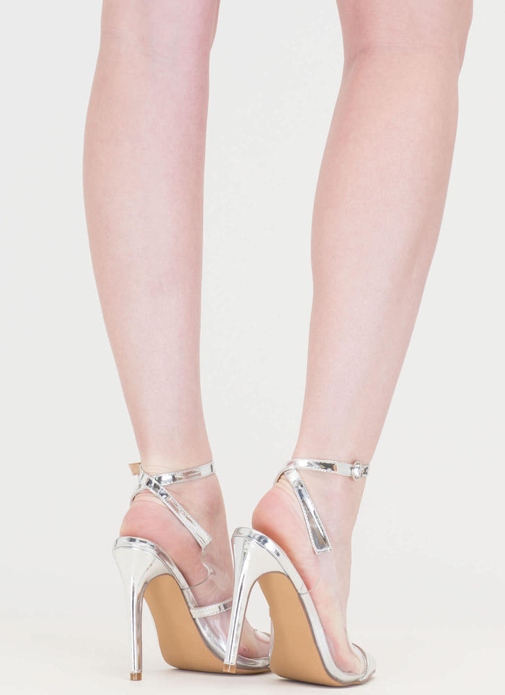 Clear Your Game Pointy Metallic Heels SILVER