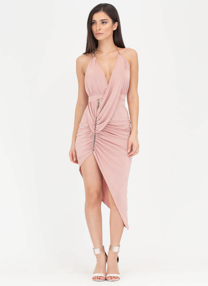 Hot Zip Ruched High-Low Halter Dress MAUVE