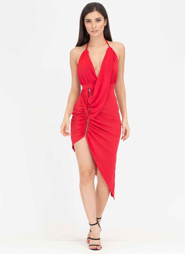 Hot Zip Ruched High-Low Halter Dress RED