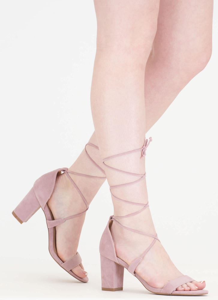 Lace Closed Strappy Block Heels LTPINK
