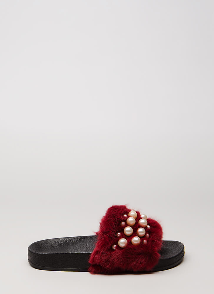 Diving For Pearls Faux Fur Slide Sandals BURGUNDY