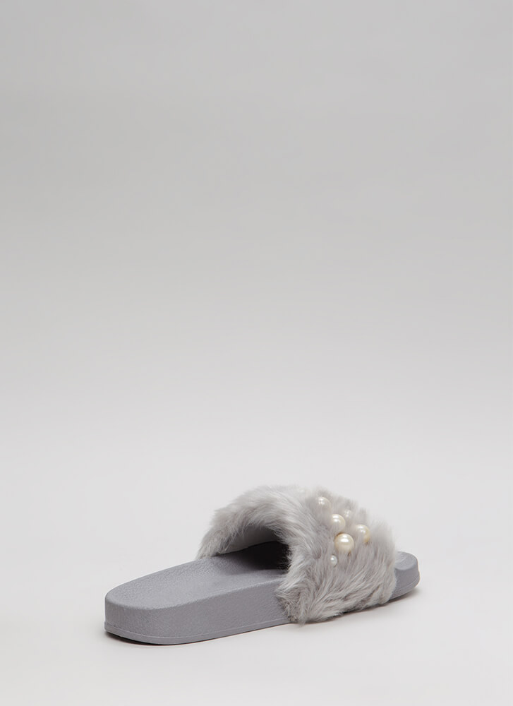 Diving For Pearls Faux Fur Slide Sandals GREY