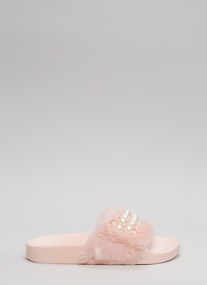 Diving For Pearls Faux Fur Slide Sandals PINK