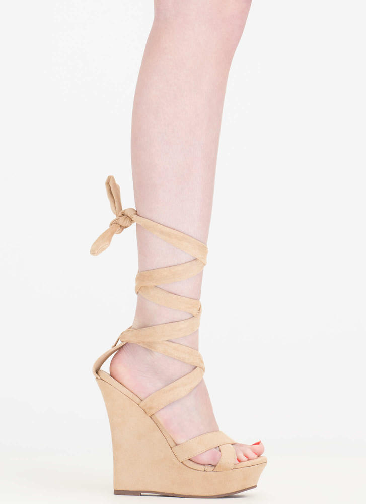 Strap Happy Faux Suede Lace-Up Wedges NUDE