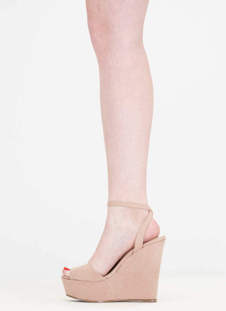Peep These Faux Suede Platform Wedges NUDE