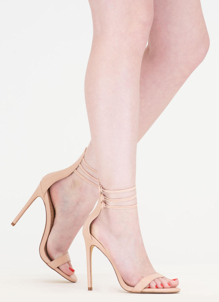 In The Loop Strappy Buttoned Heels NUDE