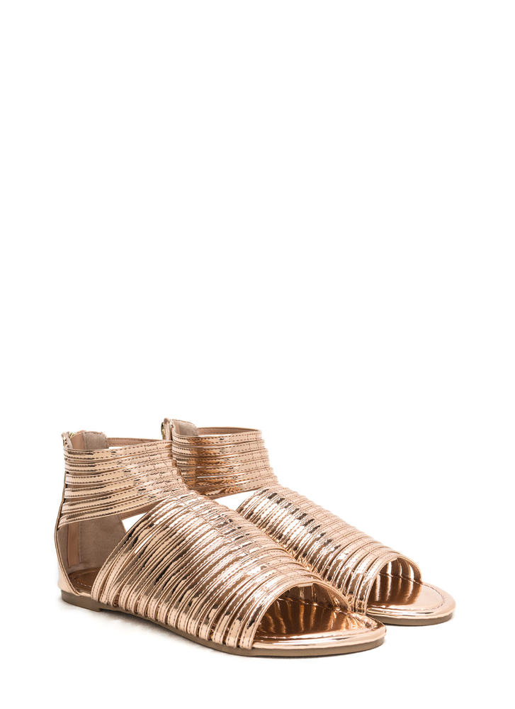 Stacked In Your Favor Metallic Sandals ROSEGOLD (Final Sale)