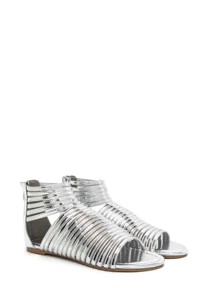 Stacked In Your Favor Metallic Sandals SILVER