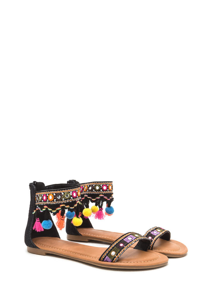 Mirror Ball Embellished Pom-Pom Sandals BLACK