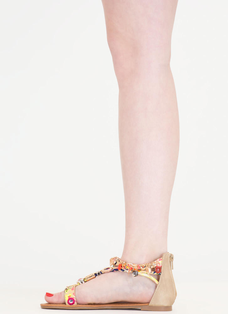 Precious Stone Embellished Print Sandals BEIGE