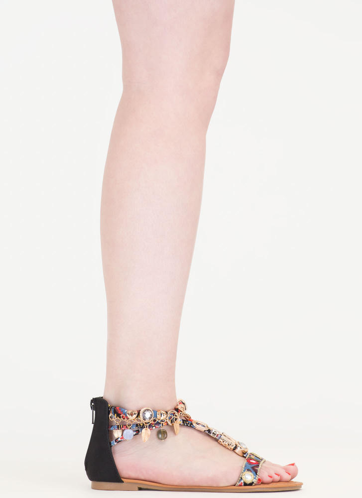 Precious Stone Embellished Print Sandals BLACK