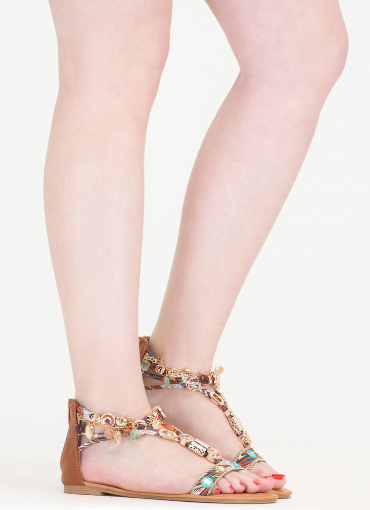 Precious Stone Embellished Print Sandals COGNAC