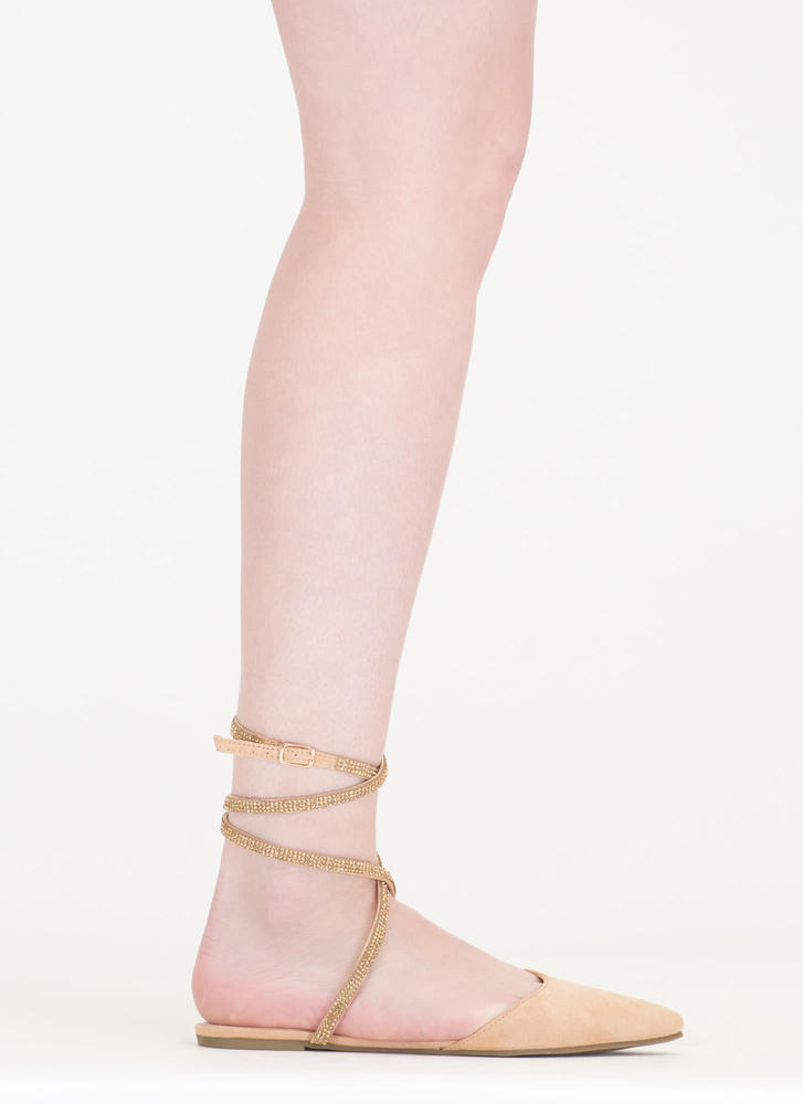 Bling It On Strappy Pointy Slipper Flats NUDE