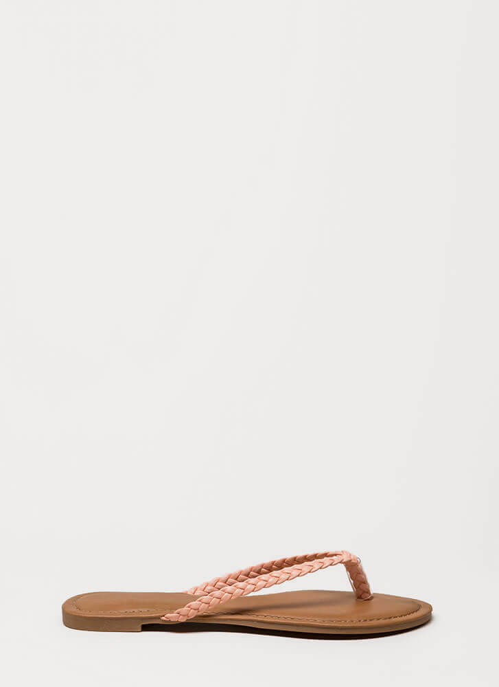 First Braid Faux Leather Thong Sandals BLUSH