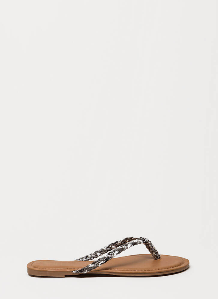 First Braid Faux Leather Thong Sandals SNAKE