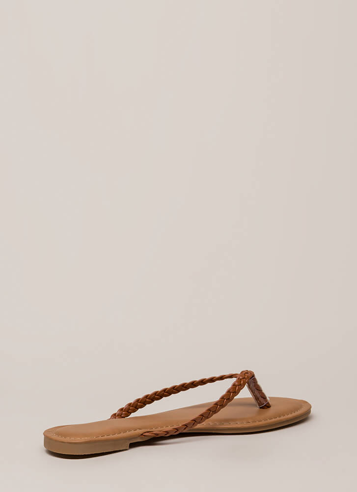 First Braid Faux Leather Thong Sandals TAN