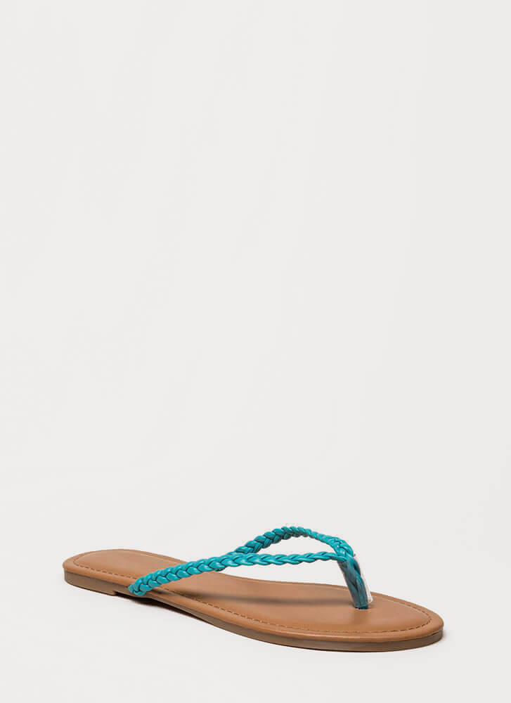 First Braid Faux Leather Thong Sandals TURQUOISE