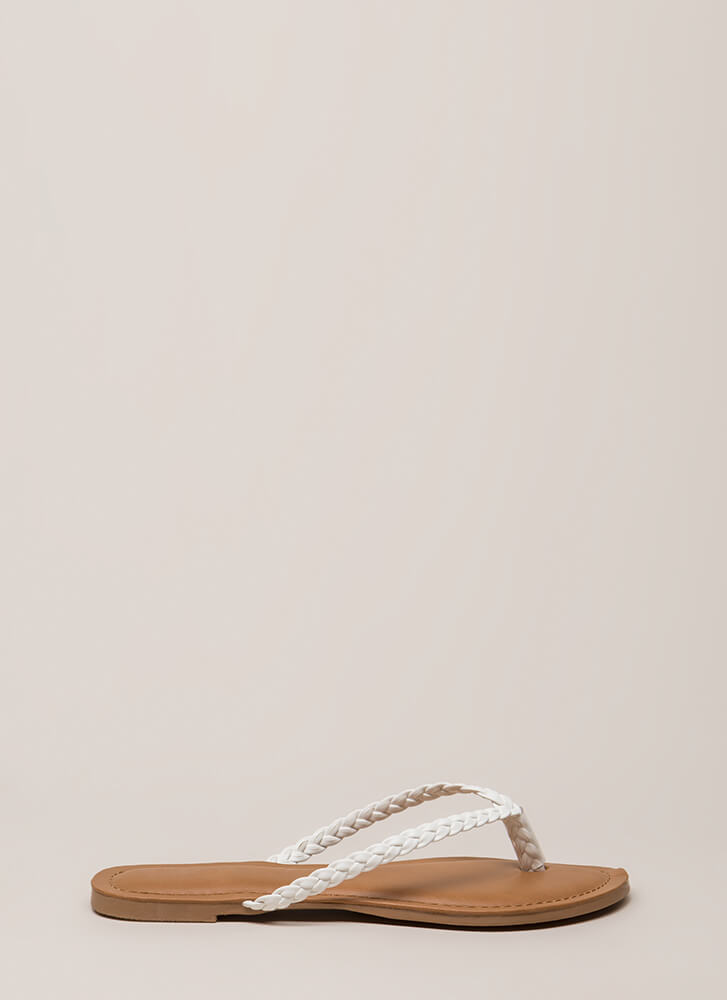 First Braid Faux Leather Thong Sandals WHITE