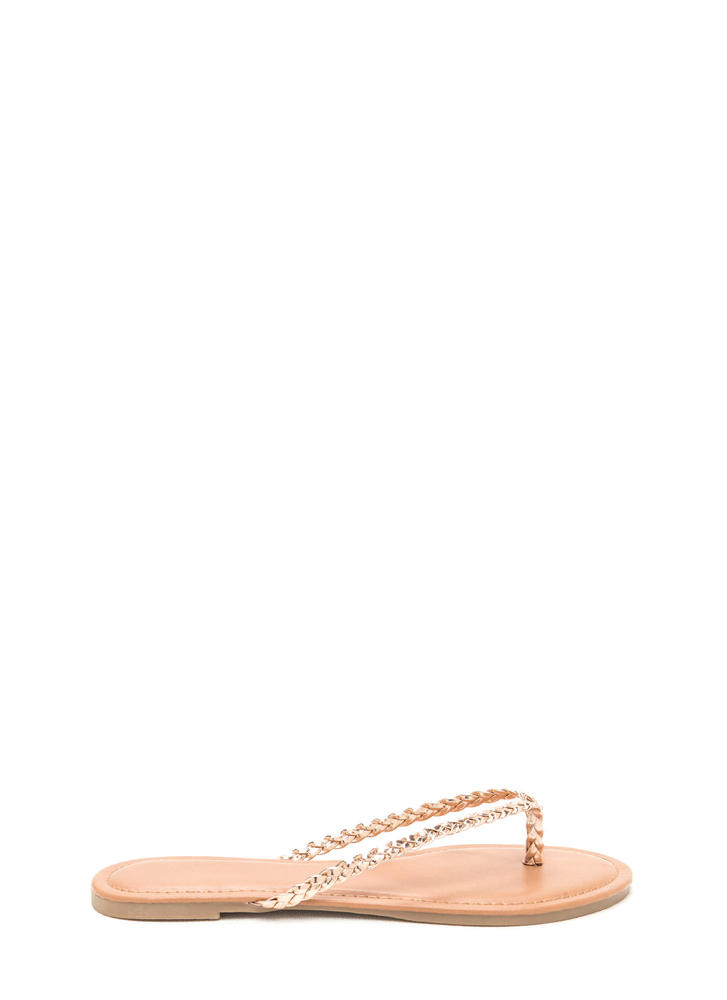 First Braid Metallic Thong Sandals SILVER ROSEGOLD GOLD ...