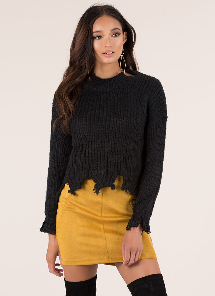 Cozy Ticket Chunky Distressed Sweater BLACK