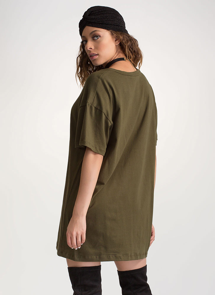 What's The Big Idea Oversized Tee OLIVE