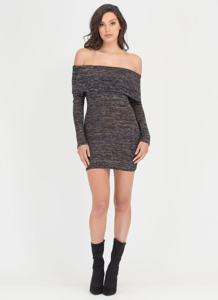 Knit Us Up Off-Shoulder Minidress CHARCOAL