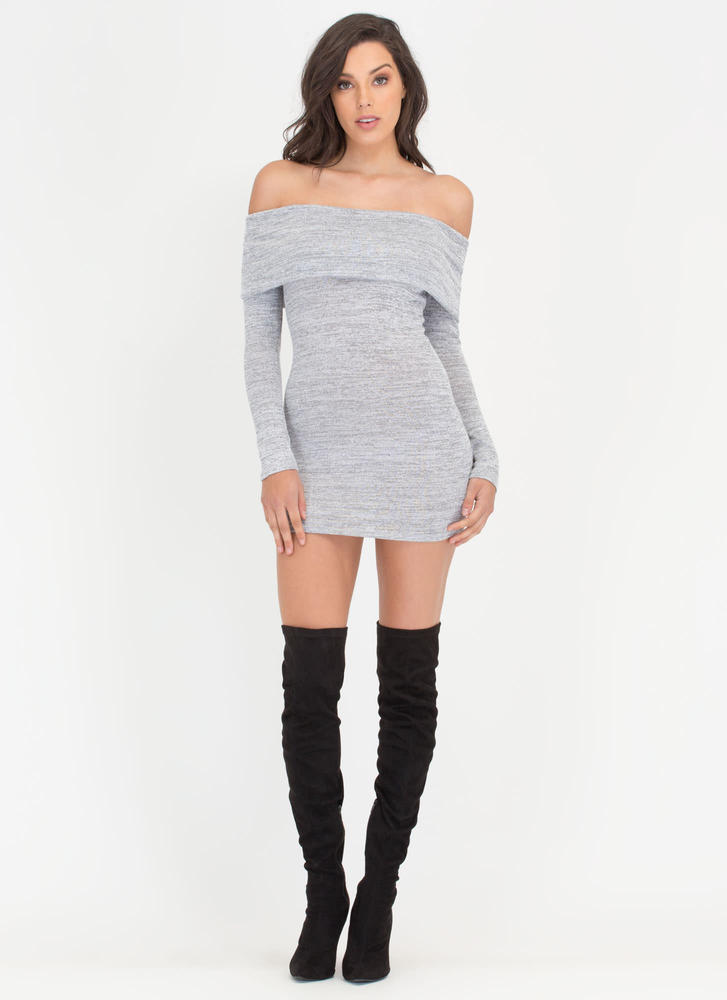 Knit Us Up Off-Shoulder Minidress GREY