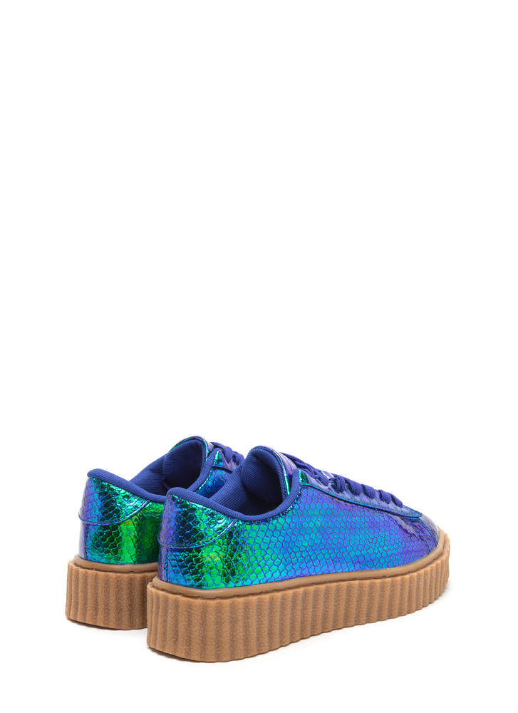 Snake On Me Shiny Creeper Sneakers GREEN