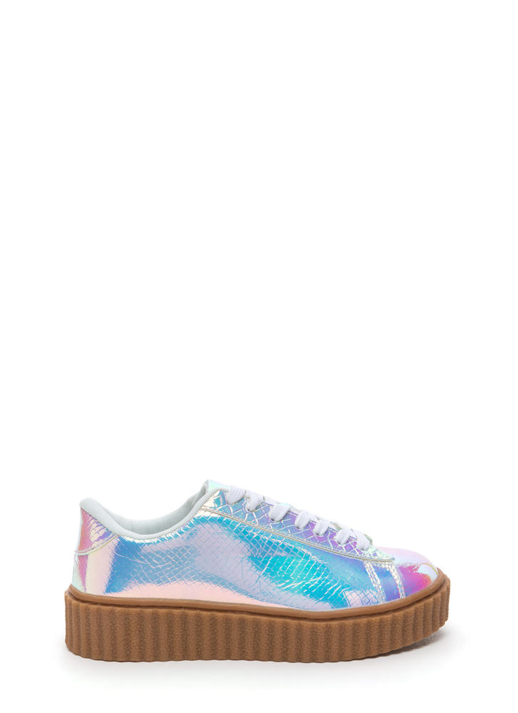 Snake On Me Shiny Creeper Sneakers PINK