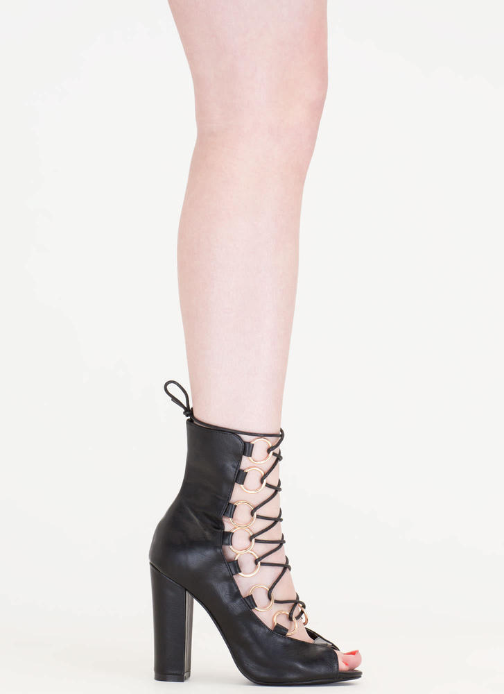 Ring Bearer Lace-Up Chunky Heels BLACK (Final Sale)