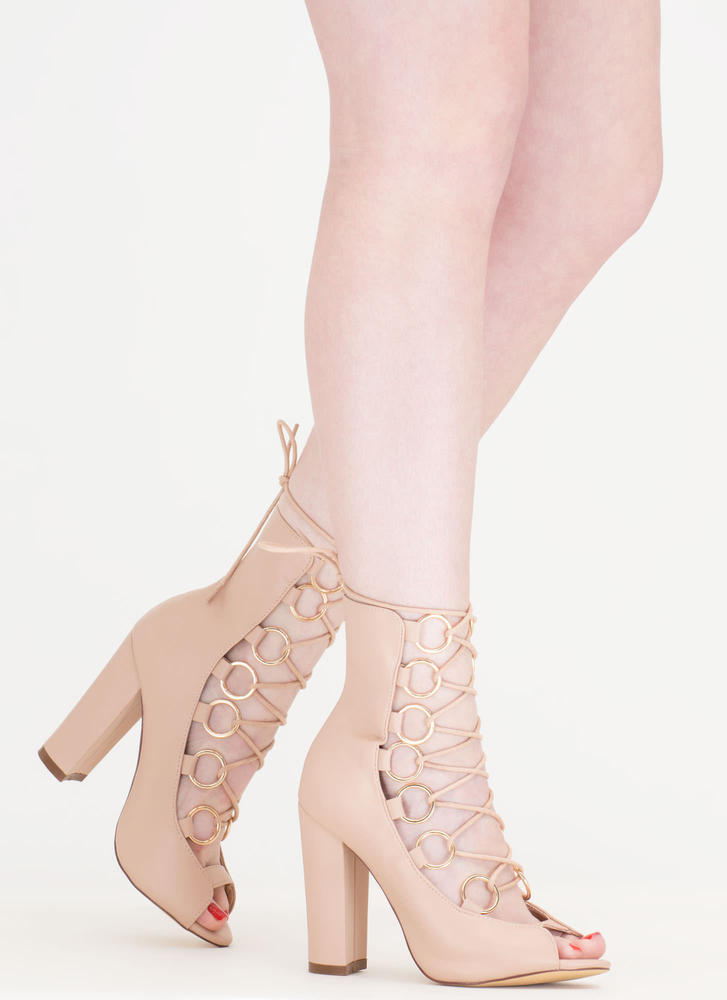 Ring Bearer Lace-Up Chunky Heels NUDE BLACK - GoJane.com