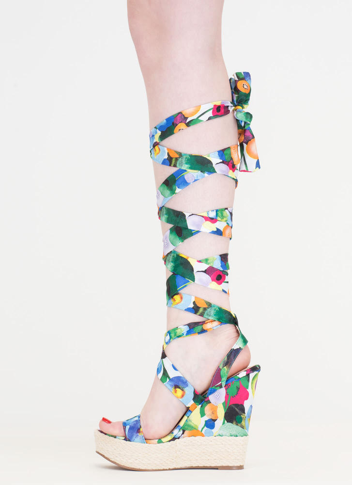 Flowers To Fruits Lace-Up Jute Wedges GREEN (Final Sale)