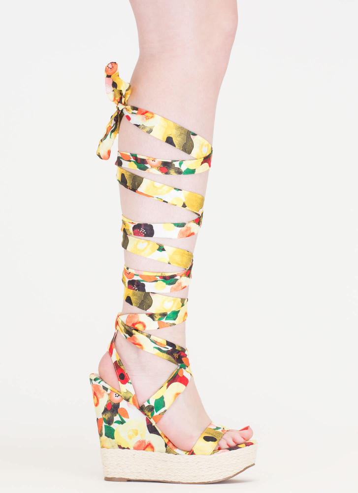Flowers To Fruits Lace-Up Jute Wedges YELLOW (Final Sale)