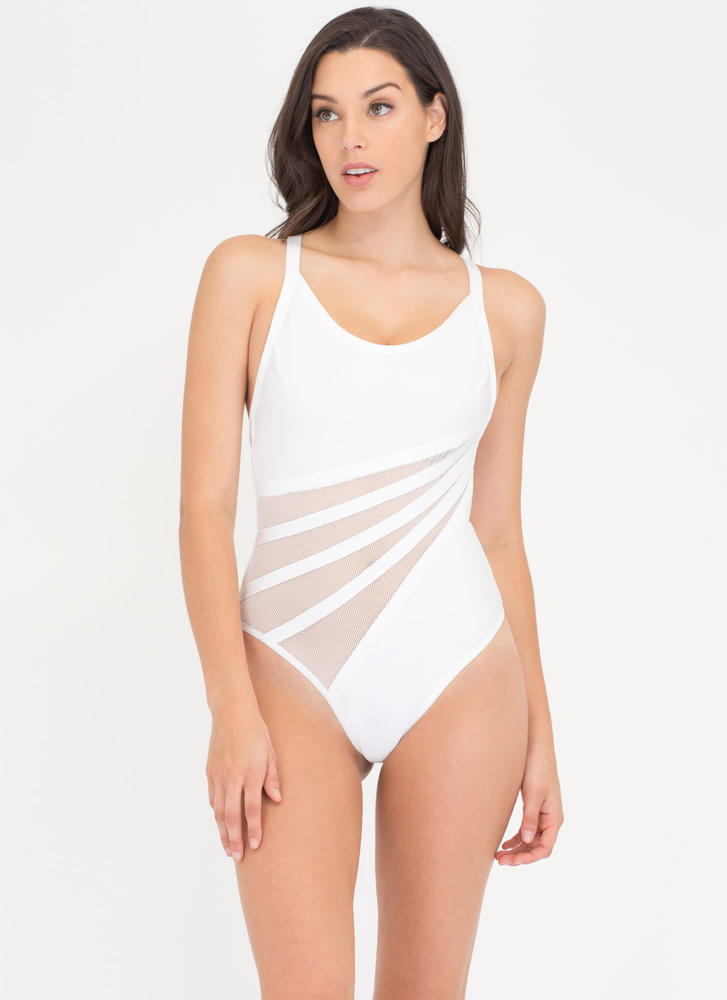 Dive In Diagonal Mesh Inset Bathing Suit WHITE