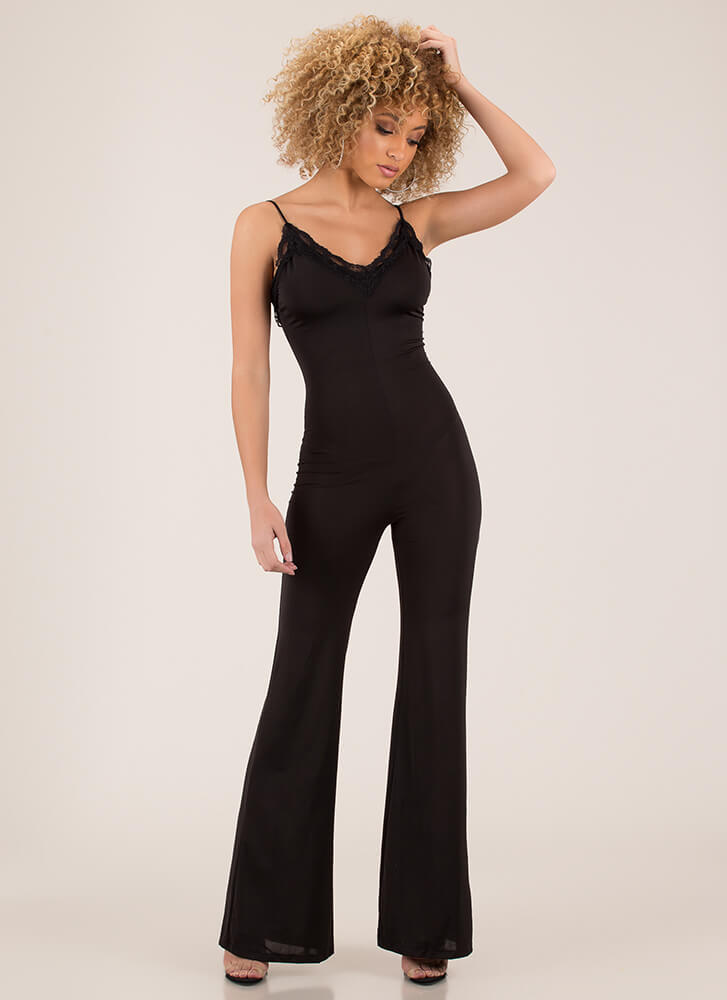 Romantic Touch Palazzo Cami Jumpsuit BLACK