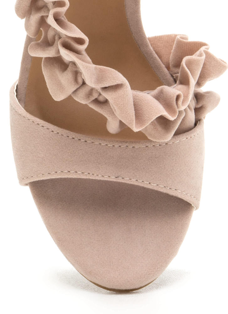 Evening Ruffles Strappy Faux Suede Heels NUDE