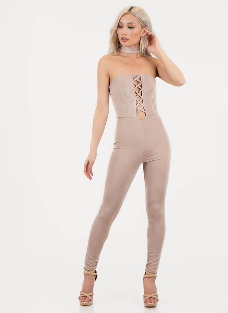 X-cellent Decision Choker Jumpsuit MOCHA