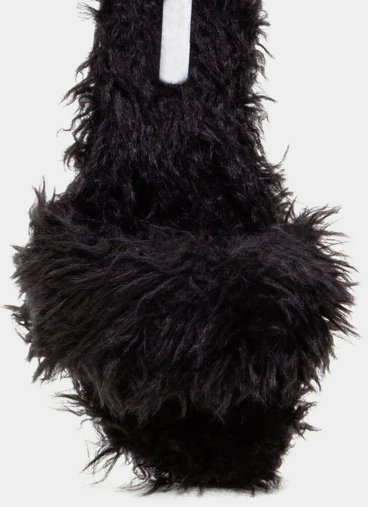 What's The Furry Faux Fur Slippers BLACK