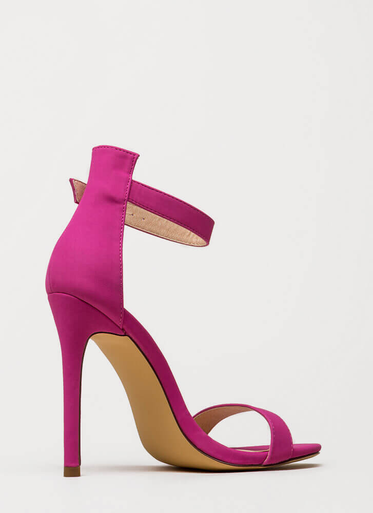 Chic Now Strappy Faux Nubuck Heels FUCHSIA